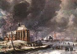 Village of Nieukoop in Winter with C