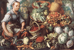 Market Woman with Fruit, Vegetables