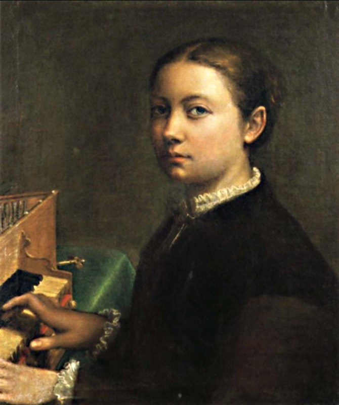 Self Portrait Playing the Spinet