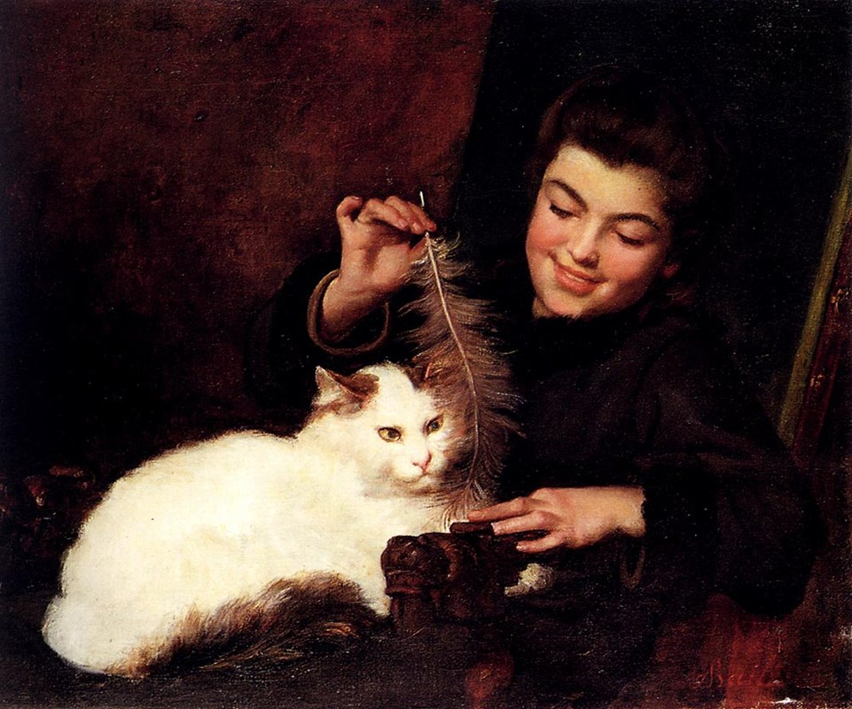 A Young Girl With A White Cat