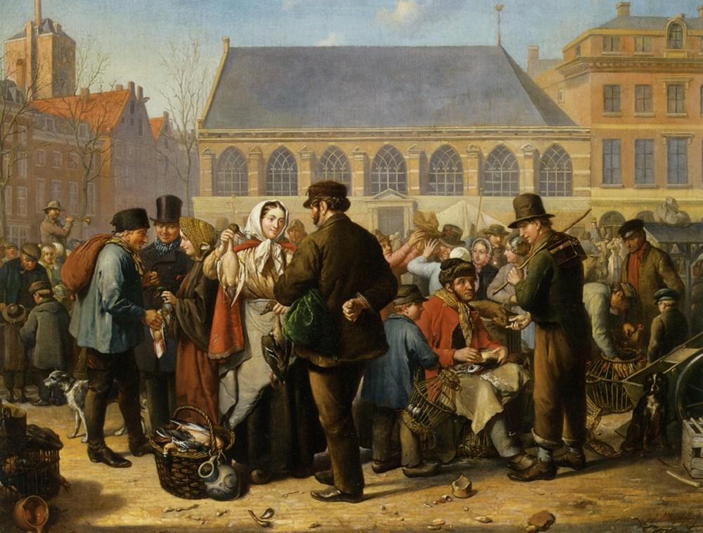 Many Figures on the Nieuwe Markt in