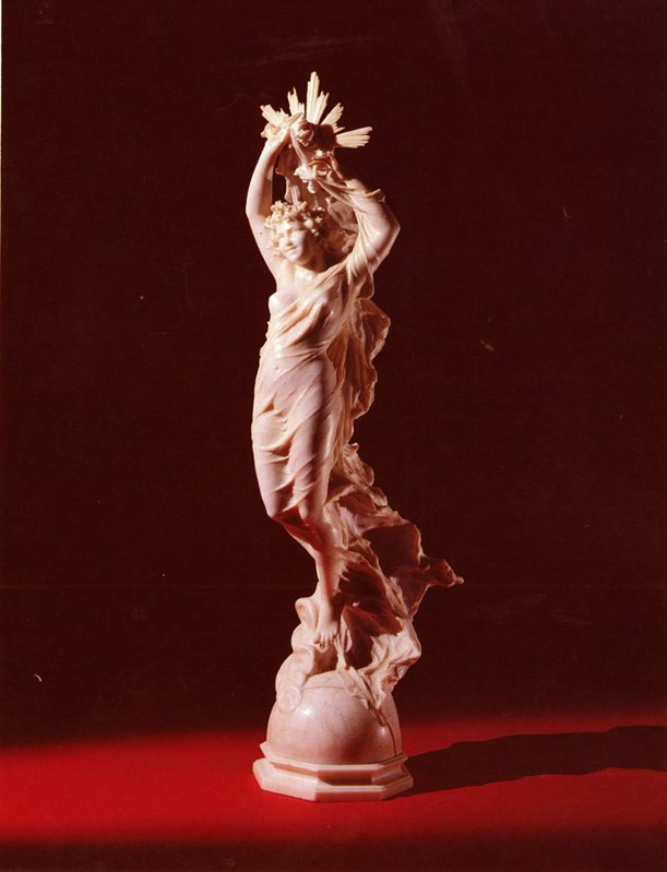 A Carved White marble Allegorical Fi