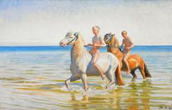 Boys ride horses to water. Skagen, 1