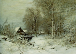 A Cottage in a Snowy Landscape