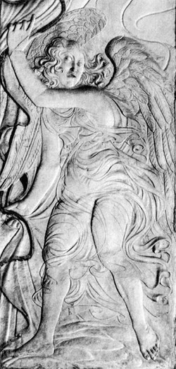 An angel drawing back a curtain