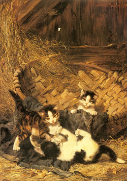 Playful Kittens in a Basket