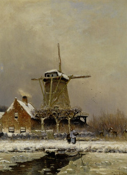 Figures by a windmill in a snow cove