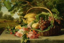 A still life with flowers grapes and