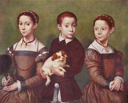 Three Children with Dog circa 1570-1
