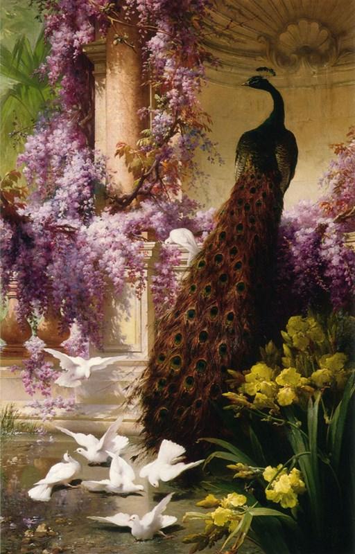 A Peacock and Doves in a Garden 1888