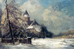 A Church In A Snow Covered Landscape