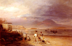 Fishermen with the Bay of Naples and
