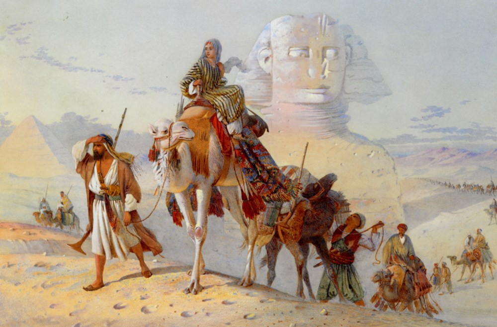 A Caravan with the Pyramids and Sphi