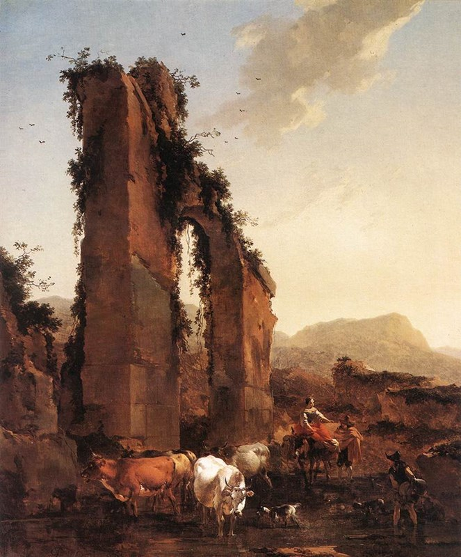 Peasants with Cattle by a Ruined Aqu