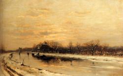 Winter: An Orchard Alongside A Canal