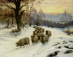 A Shepherd and his Flock on a Path i