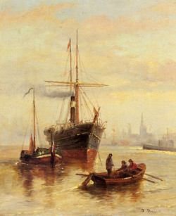 A Harbor Scene with a View of