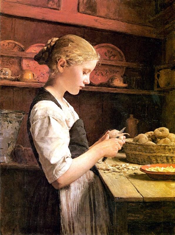 Girl Peeling Potatoes