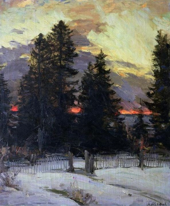 Sunset Over a Winter