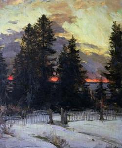 Sunset Over a Winter