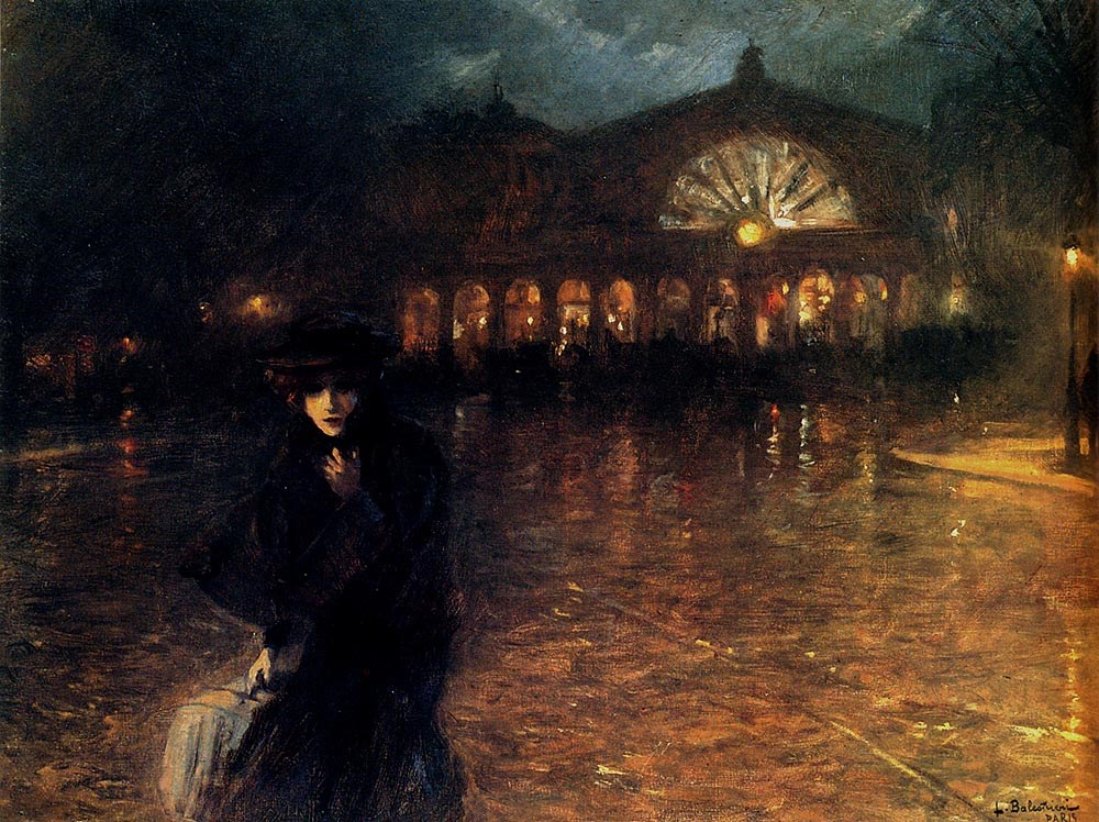 A Woman On A Paris Street At Evening