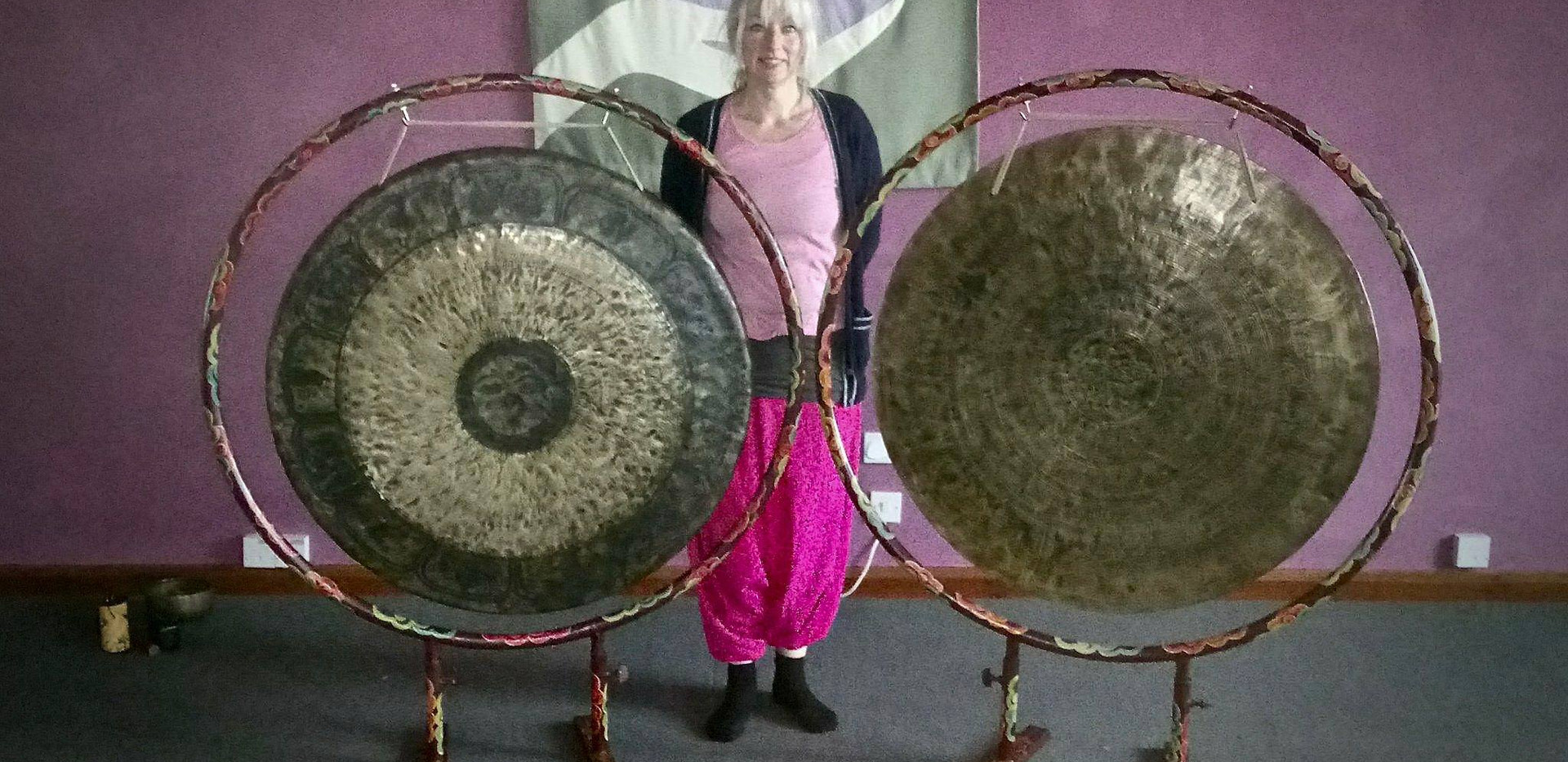 Max and our two large Singing Bowl Gongs.