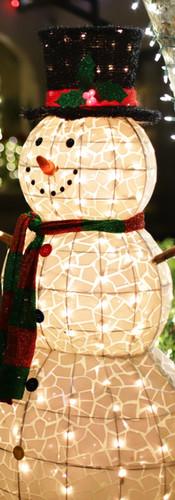 Snowman Lights at Night