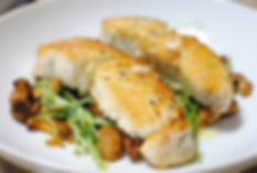 pan roasted halibut with chantrelles and