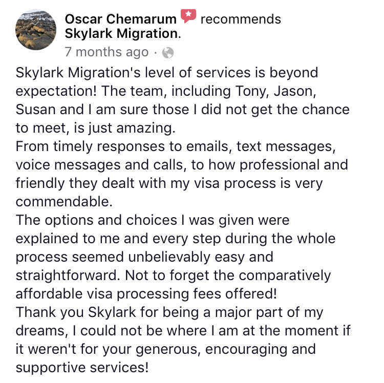 Oscar | Skylark Migration | Facebook Review