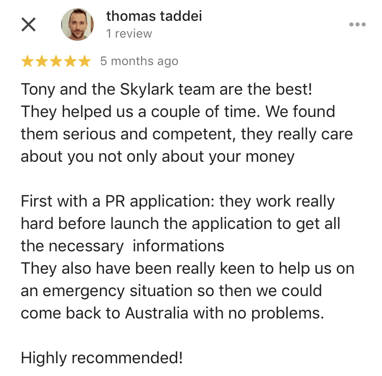 Thomas | Skylark Migration | Google Review