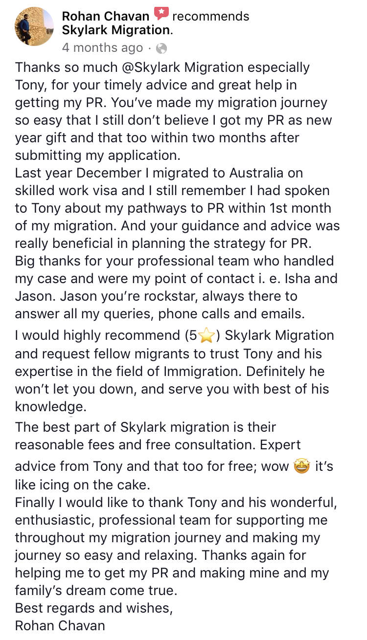 Rohan | Skylark Migration | Facebook Review