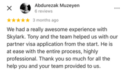 Abdurezak | Skylark Migration | Google Review