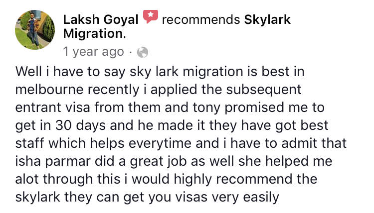 Laksh | Skylark Migration | Facebook Review