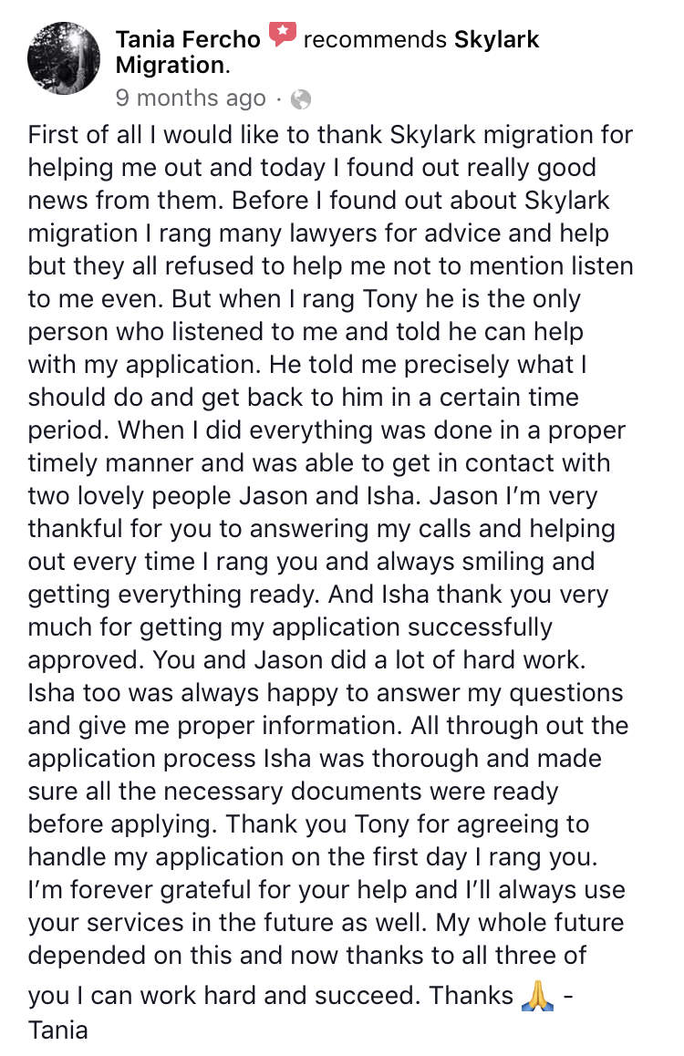 Tania | Skylark Migration | Facebook Review