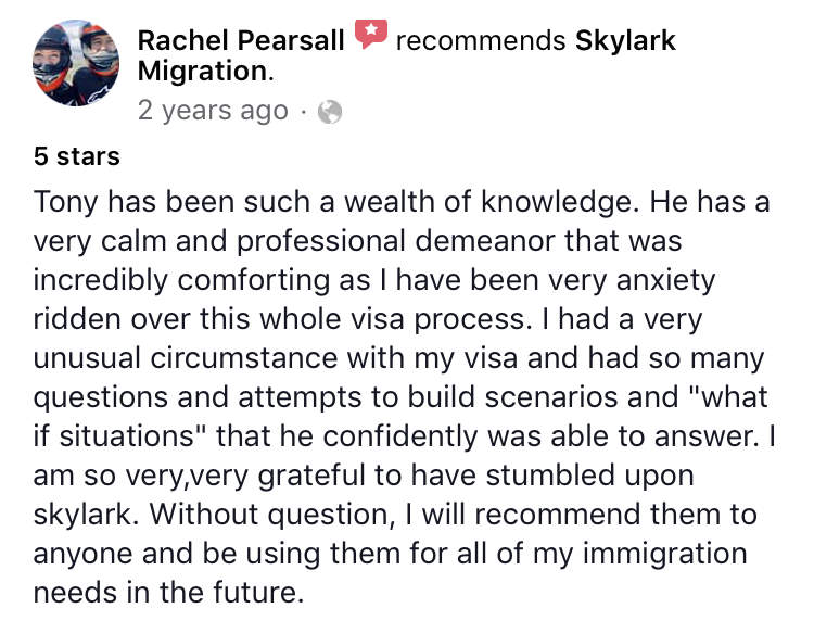 Rachel | Skylark Migration | Facebook Review