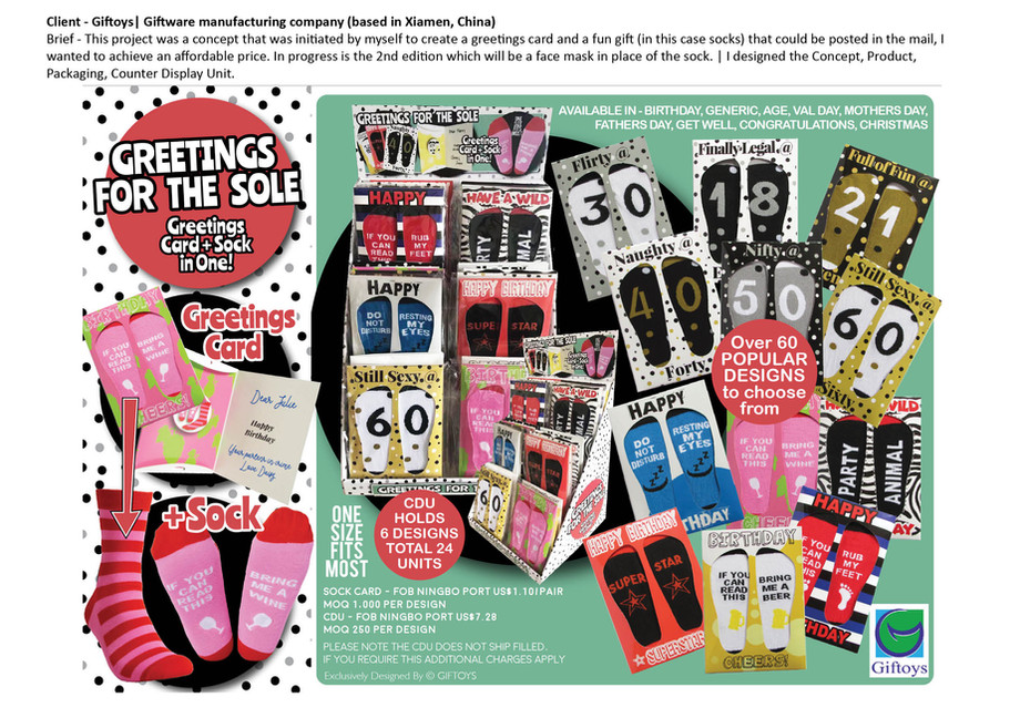 giftoys greetings for the sole card sock