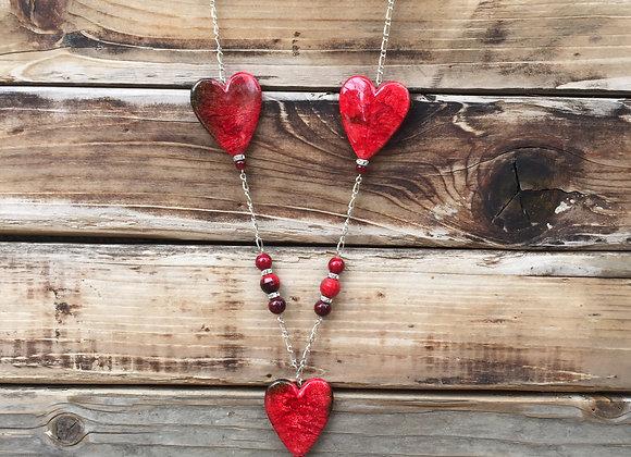 Red Heart Pendant Long Tassel Necklace