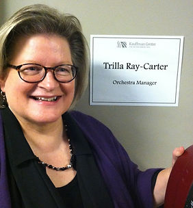 Trilla Ray-Carter, cello, music contractor, manager, Helzberg Hall, Kauffmann Center for the Performing Arts, Kansas City