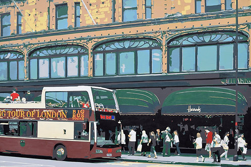 """Harrods by Kris Mercer. Painting on Canvas. One of a kind artwork. Size: 24"""" x 36"""""""