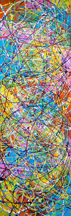 Carnival - by Kris Mercer. Abstract Painting in the style of Jackson Pollock. One of a kind artwork. Size: 40 x 120 x 2 cm