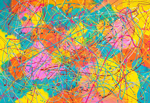 Let's Party, multicoloured abstract painting on canvas. Ready to hang. 90cm x 130cm