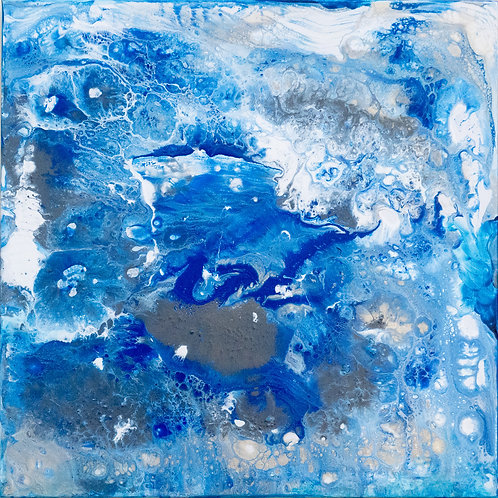 Elter Water - Painting by Kris Mercer. Acrylic Abstract Painting on Canvas. One of a kind artwork, Size: 50cm x 50