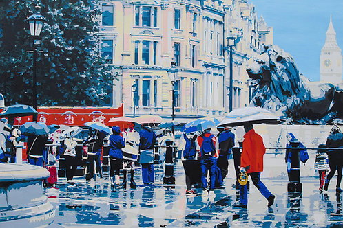 """Trafalgar in the rain by Kris Mercer. Painting on Canvas. One of a kind artwork. Size: 24"""" x 36"""""""