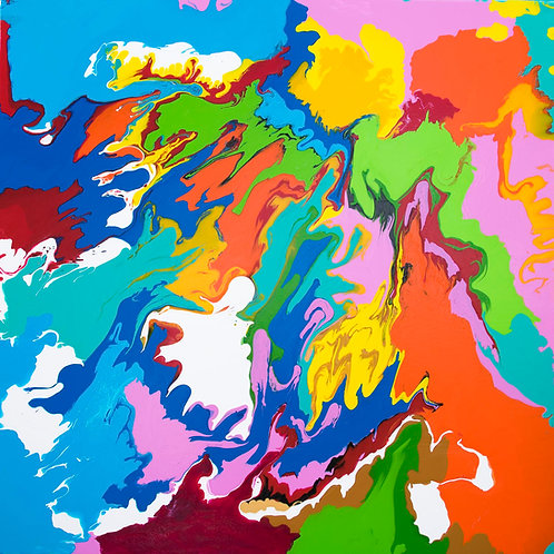 Abstract art, acrylic on canvas. Brightly, coloured. Colourful, contemporary artwork painted with flair and emotion.