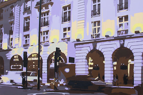 "Lighting up the Ritz by Kris Mercer. Purple Painting on Canvas. One of a kind artwork. Size: 24"" x 36"""