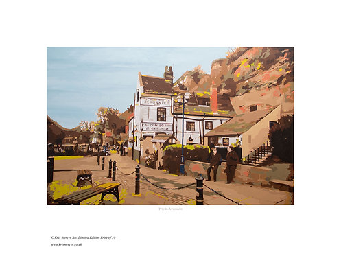 Trip to Jerusalem, Nottingham. Print by Kris Mercer. From a limited edition of 10. Fine Art Paper