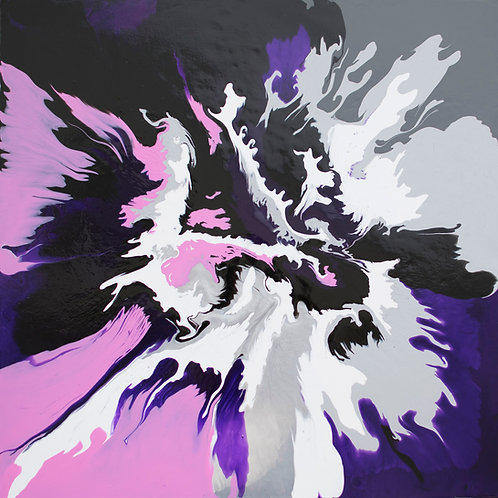 purple, pink, blue and silver original acrylic painting is ideal for a stylish modern interior.