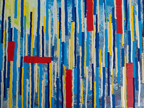 Learning - Painting by Kris Mercer. Abstract Painting on Aluminium, One of a kind artwork, Size: 30cm x 40cm x 2cm