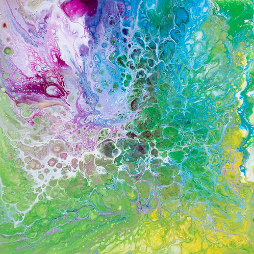 Sparkly Fizz - Colourful Painting on Canvas  by Kris Mercer. One of a kind abstract artwork. Size: 50cm x 50cm