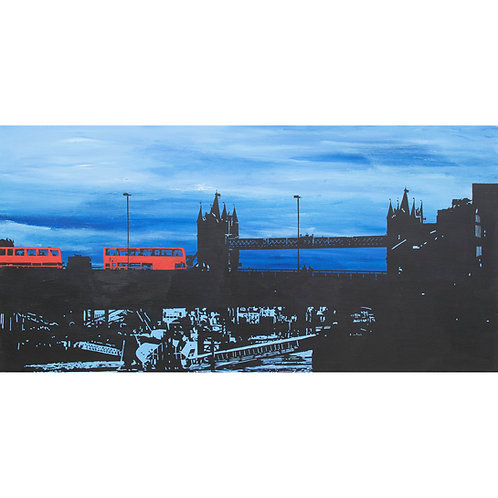 Two by two by Kris Mercer. Painting on Canvas. London buses and Tower Bridge at night. Size: 50cm x 100cm
